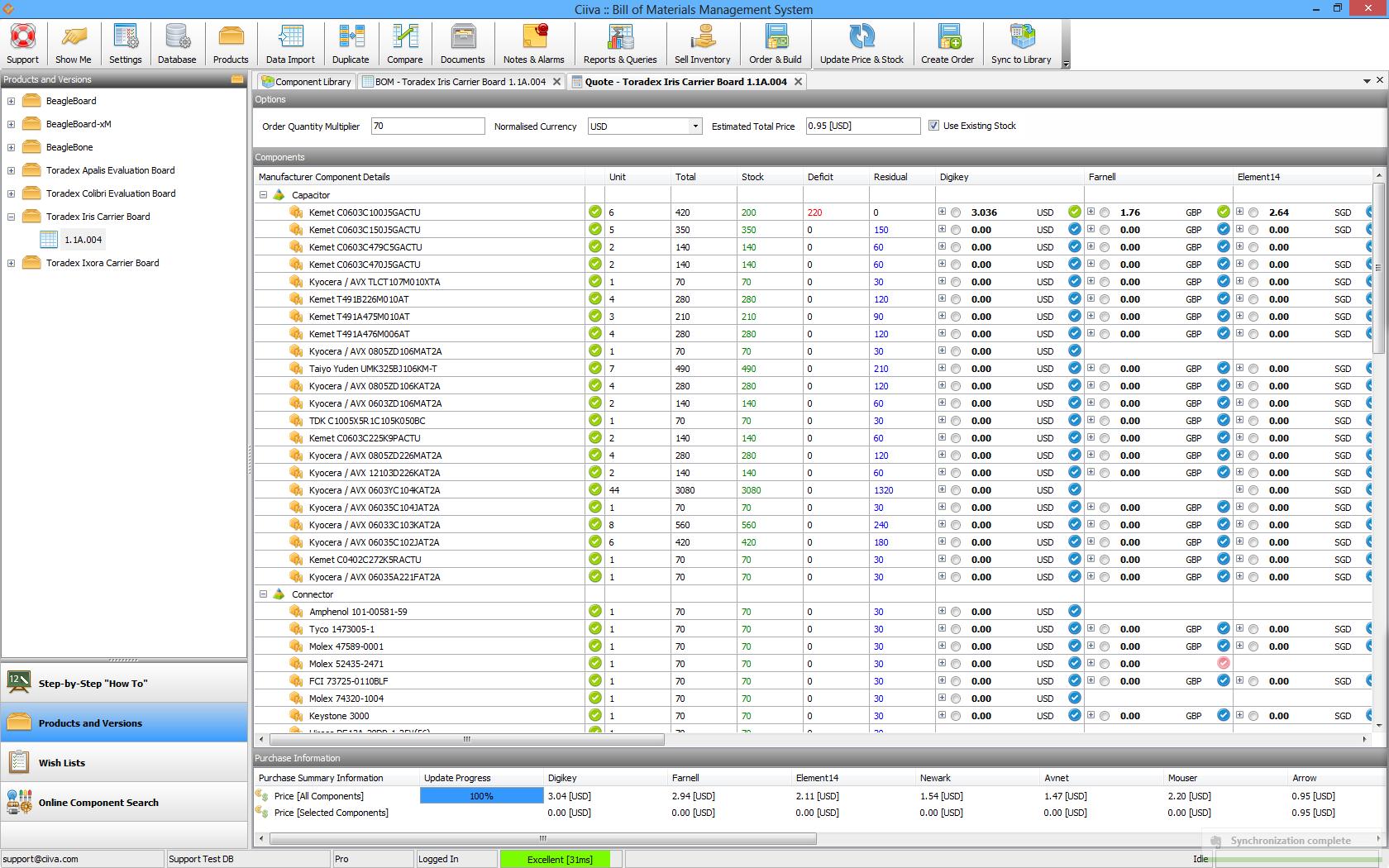 bill of materials bom management software screenshots ciiva